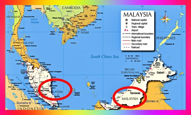 Malaysia-east-west-map