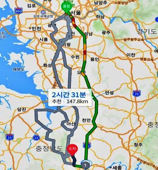 Seoul-Magoksa-distance