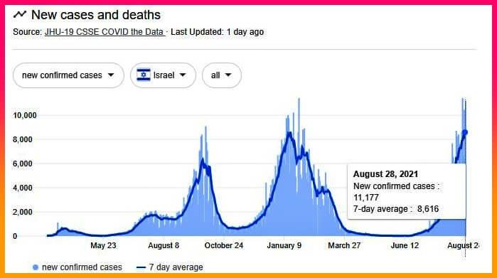 이스라엘 코로나 신규 확진자 그래프